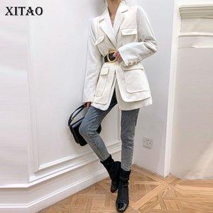 Xitao Ложные двухкусочной Белой куртка женщины Карман Goddess вентилятор 2020 Осень Полного Рукав Белого Minority вскользь Свободные пальто GCC3866