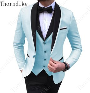 2020 Tailored Men Coat Pant Casual Double Breasted Men Slim Fit Suit Sky Blue Tuxedo Groom Blazer Wedding Suit Terno Masculino