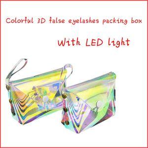 Nuevos láser suave al por mayor de visón pestañas 3D cajas de empaquetado de pestañas caja de embalaje logotipo personalizado de imitación despojar caja vacía con luz LED