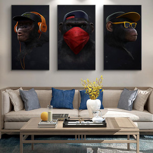 Funny Monkey Art Wall Paintings Print On Canvas Music Monkey With Mask Posters And Prints Nordic Art Animals Pictures Cuadros