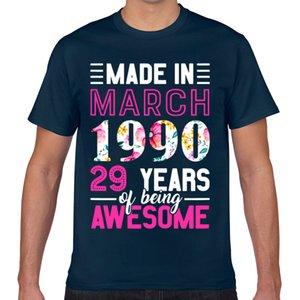 Tops T-shirt des femmes d'hommes a mars 1990 29 anniversaire drôle chemise blanche geek coton Homme T-shirt XXX