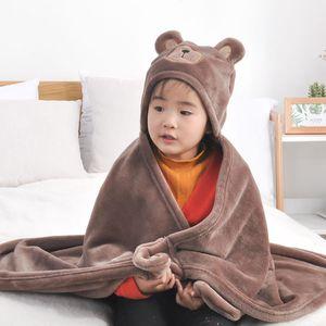 3 Color Kids Flannel blanket 3 patterns Coral Fleece Baby Newborn Wearable blanket sofa bedroom Throw blanket