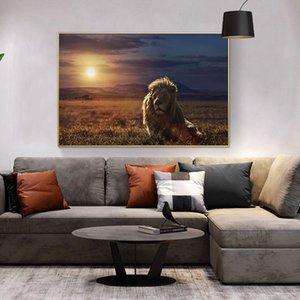Wildlife Animal Lion Canvas Painting Scandinavian African Sunset Landscape Poster Prints Wall Art Picture for Living Room Cuadros Decoracion