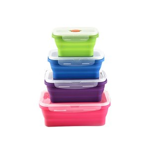 Collapsible Food Storage Containers - 4 Pack Silicone Bento Lunch Boxes, Reusable BPA-Free and Microwave Safe Lunch Containers T200710