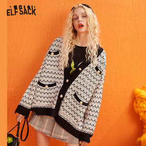 ELFSACK Colorblock-Metallknopf-Weinlese gestrickte Cardigans Frauen Pullover 2019 Winter Einzel Breast Büro-Damen tägliche süße Top CX200730