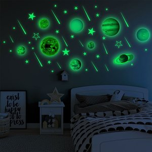 Sticker murale adesivi murali luminosa Pianeti PVC Glow In Dark dieci pianeti Camera