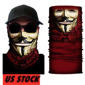 US Stock clown, magie Turban Bandeaux moue Masques Skeleton Sports de plein air Fantôme Echarpes Bandeau Vélo moto Wrap FY7140