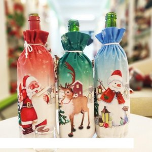 Christmas Decoration Santa Claus Wine Bottle Cover Santa Claus Bottle Holder Bag Snowman Xmas Wine Bottle Clothe Home Decoration DBC VT0758