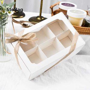 StoBag 10pcs White With Window Cake Paper Box Birthday Party DIY Handmade Gift Cookies Chocolate Child Favor Shell Macaron Box