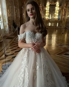 Stylish Short Sleeves A Line Lace Appliques Wedding Dresses Beaded Pearls Formal Princess Custom Made Bridal Gowns