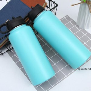 18oz 32oz 40oz Stainless steel water bottle vacuum Drinkware insulated Outdoor wide mouth big capacity cup mug with leakproof Lid LJJA4098
