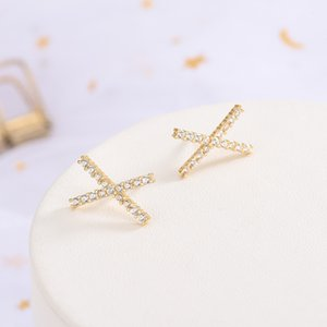 S925 Sterling Silver Earrings Korean-Style Diamond Set X-Shaped Cross Earrings Ins Niche Design Elegant Earrings Female One-Piece Hair