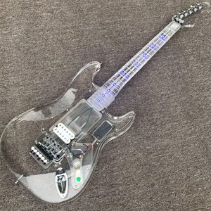 Wholesale custom new products, high quality electric guitar, acrylic guitar, LED light electric guitar, silver hardware, DIY guitar kit cust