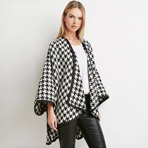 2020 New Autumn And Winter Women Woolen coat Cardigan Bat type Houndstooth 3 4 sleeve Irregular Explosion Ladies Tops High-end