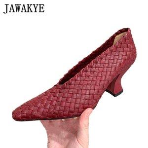 Runway Handmade Braid Leather Women Shoes Plus Size Shallow Pointy Toe High Heels Comfort Strange Chunky Heel grandma Shoes