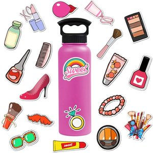 Lot de gros rose 50pcs filles de maquillage de femme autocollants maquillage vinaigrette Lady Decal ordinateur portable Skateboard bouteille Motor Car Decal Lots en vrac