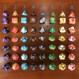 7 Pcs Set Running Group Dice Board Role Playing Games Dices Multifaceted Marble Texture Of Material Leisure Sports 4 88dx E2