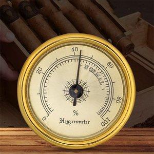 Tabaco fumar erva Higrómetros Plástico redondo cor do ouro Cigar higrômetro mini-Moisture Detector Fit doméstico 5 5PN E1