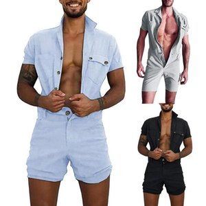 Men Solid Color Short Sleeve Pockets Button Jumpsuit Romper Overall Work Clothes One-piece jumpsuit suitable for travel BBQ
