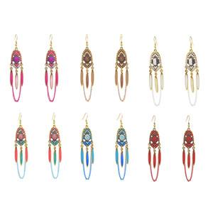 Bohemian Women colorful Boho leaves link Juhmka Earrings Tibetan Jewelry Brincos Bijoux Vintage Long Chain&Leaf Tassel Drop Earr