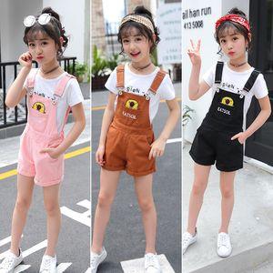 Kids Pink Denim Overalls for Teenagers Girl 8 Years Spring Dungarees Girls Pocket Children Summer Cowboy Breastplate Jumpsuit
