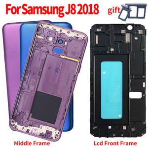 Middle Frame For Samsung Galaxy J8 2018 J810 J810F SM-J810F Housing Battery Door Rear Back Cover Case Replacement Front LCD Frame