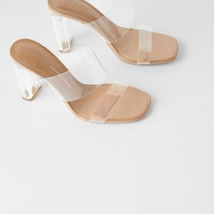 2020 migliori donne di vendita del PVC dei sandali della gelatina 9 Toes cm quadrati di cristallo Chunky Tacchi punte aperte Designer Shoes trasparenti