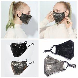 Fashion Bling 3D Washable Reusable Mask PM2.5 Face Care Shield Sun Color Gold Elbow Sequins Designer Face Party Masks Shiny Face Mask R3285