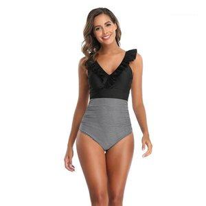 Piece Swimwear Plus Size Patchwork Color Swimwear V Neck Printed Woman Bikinis Casual Bathing Sets Sexy Womens One