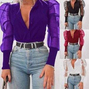 New Fashion Women Button Down V Neck Blouses Top Tulle Sheer Puff Sleeve Tee Top Blouse Slim Fit Ladies Party Wear