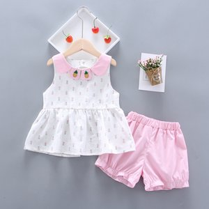 Baby Girl Clothes 2020 Summer New Girls Clothing Sets Kids Clothes Baby clothes Toddler Girl Sleeveless Dress + Pants B33