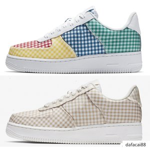 New Cheap Chaussures Running Shoes forced 1 Low Women 07 LV8 1 GINGHAM PACK Skate Shoes Outdoor Fashion Sneakers Size 36-39