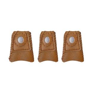2PCS ручной Лоскутная Искусственный Овчина Thimble Finger наборы с металлическим наконечником DIY швейные инструменты Рукоделие Аксессуар наперстка