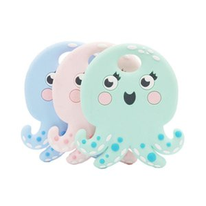 New baby teething supplies Baby can bite silicone octopus teether toys Baby comfortable teething stick toys