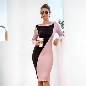 Femmes Slash Neck Robe Patchwork Femme Automne Hiver Slim Sexy contraste couleur manches longues en tricot Robes Femmes Hauts Vêtements Mode