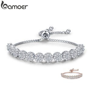 BAMOER Classic New Round Cubic Zircon Silver Color Elegant Women Tennis Bracelets for Women Fashion Bracelet Jewelry YIB041