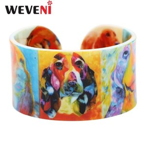 WEVENI Wide Love Lightweight Basset Hound Bangle Bracelets For Women New Fashion Accessories Animal Jewelry Dog Lover Souvenir