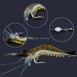 2020Hot 90 milímetros 7g macio Simulação do camarão do camarão de pesca flutuante iscas de camarão Shaped Lure Gancho Bait Bionic artificial com 10pcs gancho