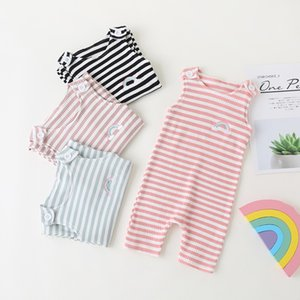 2020 Summer Sleeveless Newborn Baby Girl Boy Clothes Rainbow Striped Print Romper Casual Jumpsuit Soft Baby Outfit One Piece