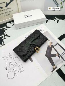 58SY 012 neueste Brieftasche neues Logo schwarz echtes Leder Compact lange Mappen Kette Geldbeutel Beutel Schlüsselkartenhalter Phone Cases PURSE CLUTCHES