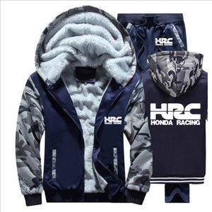 Hoodies Männer HRC Rennen Motorrad Auto-Logo Herren Pullover Anzug Winter verdicken warme Fleece Zipper Anzug Herren Jacke Hosen-Sets
