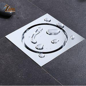 ZGRK Tile Insert Square Floor Waste Grates Bathroom Shower Drain Odor-proof Bathroom Brass Invisible Floor Drain T200715