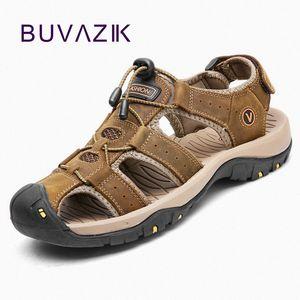 BUVAZIK Erkek Sandalet Yaz Büyük Beden Yumuşak Sandalet Erkek Ayakkabı Rahat Büyük Boy Erkek Gerçek Deri Sandalias Hombre UXjR #