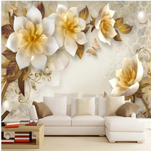modern wallpaper for living room 3D three-dimensional relief flower wallpapers European retro TV background wall decoration painting
