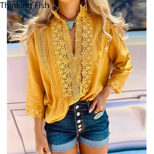 Long Sleeve Women Blouse, Sexy Bohemia Hollow Lace Shirt Office Ladies Leisure Loose Yellow Coat of Women In The Summer of 2020
