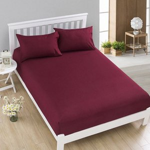 1pcs 100%Polyester Solid Fitted Sheet Mattress Cover Four Corners With Elastic Band Bed Sheet58 hUdA#