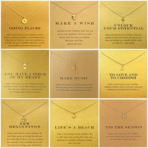 9 Style Compass Starfish Music Note Wish Card Pendant Necklace Women Minimalist Heart Flower Choker Necklaces