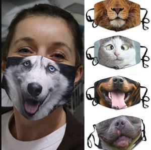 Máscaras 3D-impresión divertida de la mascarilla colgando del oído-Cubiertas de estampado de animales Máscara reutilizable lavable Boca de Protección al Adulto Unisex Diseño máscaras LSK459