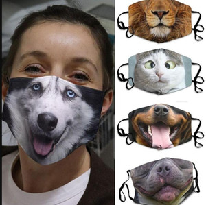 Máscaras 3D-Imprimir Máscara Funny Face Protective Imprimir Cobertura do animal Máscara lavável reutilizável Boca-pendurado Ear Adulto Unisex Projeto máscaras LSK459