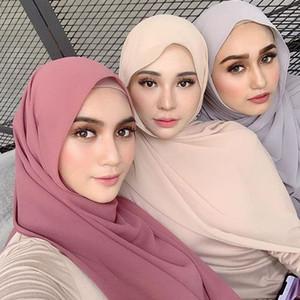 Moda Düz Kabarcık şifon Eşarp Kadın Hicap Wrap Katı ColorShawls Kafa Müslüman HijabsTurbanet Türban 49colors